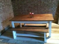 solid reclaimed wood dining table set