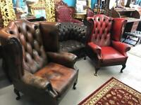 Three queen Ann high back chesterfield arm chairs