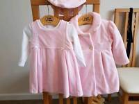 Mayoral 6 - 12 month pink jacket coat, beret and dress
