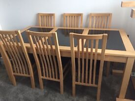 Solid Beech & Polished Granite Dining table + 6 x chairs