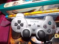 Sony Playstation 2 Controller - Silver - Great Condition Hardly used
