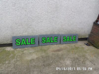 3,, Perspex sale signs ,760m by 380m by 6m ,