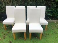 6 faux leather white dining chairs
