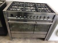 Stainless steel smeg 100cm dull fuel cooker grill & fan assisted ovens with guarantee
