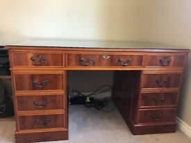 Yew green leather inlay desk