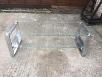 Glass and silver tv stand tele cabinet