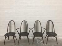Set of original ercol Windsor dining chairs and carvers.
