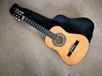 CHILD FIRST SIZE ACOUSTIC GUITAR + CASE. SUIT APPROX 4-8 YEARS