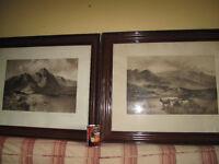 Large Antique Scottish Cattle Framed Pictures