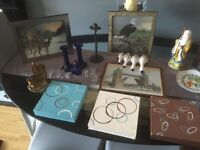 Car boot lot, ornaments, pictures, canvases, wall plates