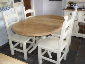 Shabby Chic Solid Farmhouse Country Pine Drop Leaf Table and 4 Chairs In Farrow & Ball Cream No 67
