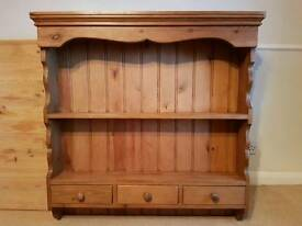 Antique Pine Wall Shelf With Drawers