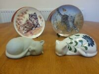 DECORATIVE CAT PLATES CAT SALT AND PEPPER POTS CAT ORNAMENTS