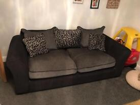 Black & grey two seater & armchair by Very