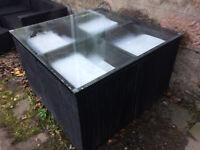 outdoor rattan cube dining set