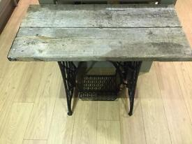 Small side table, converted Singer sewing table