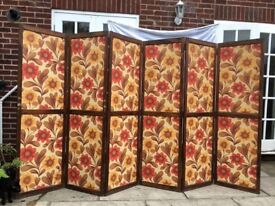 Unique French Handmade Retro 6 Panel 3m Red Yellow Flowered Room Divider/Screen
