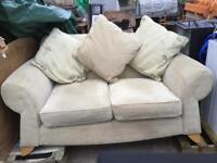 Cream double sofa with armchair
