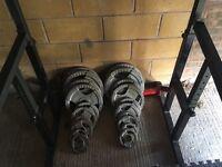15kg Squat Rack, 165kg Weights, York Bike, Bench & Matting