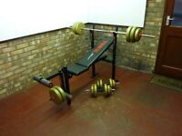 York Fitness Weights Bench + Weights Bar + Dumbells + Weights all in excellent condition