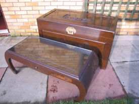 Antique Oriental chest and coffee table