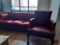 Oxblood leather chesterfield & accompanying chair for sale