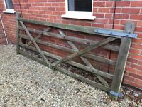 Five bar wooden gate with galvanised furniture