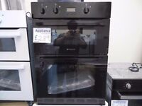 EX-DISPLAY BLACK HOTPOINT INTEGRATED DOUBLE OVEN REF: 13535