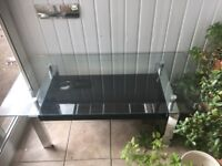 GLASS TABLE WITH CHROME BASE - EXCELLENT CONDITION