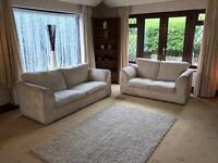 Cream jumbo cord 3 & 2 Seater Sofas Good Condition Delivery Possible