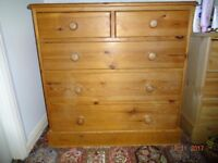 Two pine chests of drawers. 5 drawer. Used but good condition.