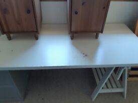 White tressle desk