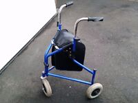 TRI WALKER / WALKING SHOPPING AID / FRAME / ZIMMER - WITH 3 WHEELS & STORAGE BAG