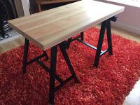 IKEA Desk - ODDVALD Trestle Black (x2) with TORNLIDEN Table top Pine Veneer