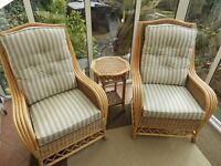 Pair of wicker conservatory chairs plus table
