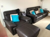 Real leather brown sofa & arm chair