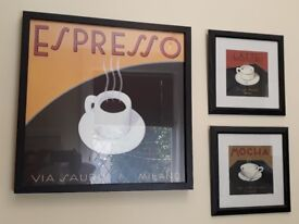 Set of three coffee pictures