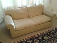 Sofa bed, pale yellow, very comfy, a few marks but good condition.