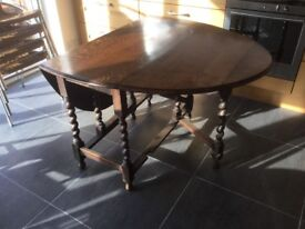 Victorian barley twist gate leg table compact size in the ak