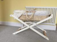 Moses basket and stand.. also 2 mattresses (1 breathable)