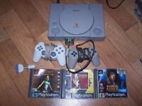 Playstation 1 Console PS1 with 3 Tomb Raider Games