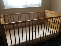 Pine Baby Cot / Toddler Bed and Mattress