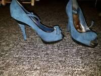Blue suede stilettos size 7