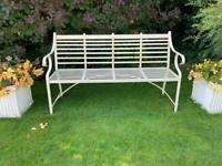 Handcrafted painted wrought iron bench