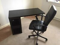 Black Computer Table with Chair
