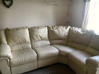 Corner recliner cream leather sofa