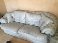 Italian leather sofas 3+2+1 and foot rest in good condition