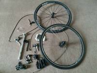 Bike wheels, shimano derailer, shifter, cassette, chain +...