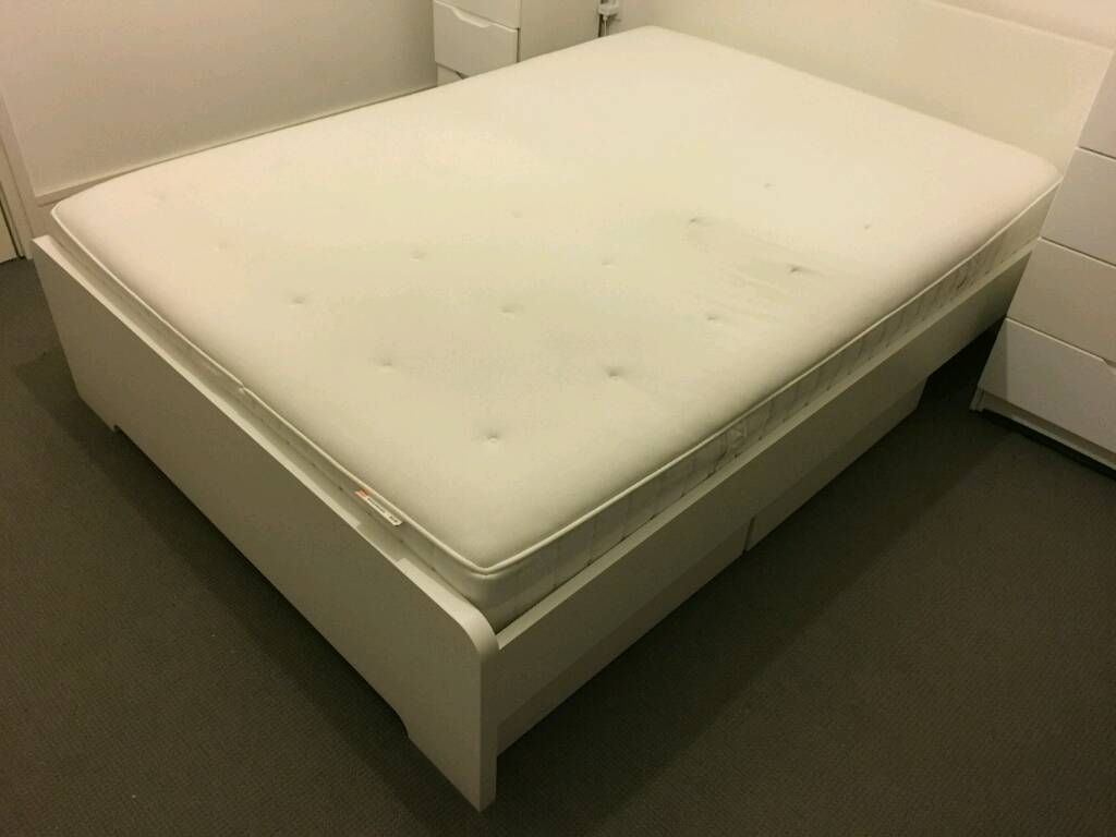 ikea askvoll double bed frame with mattress storage boxes and