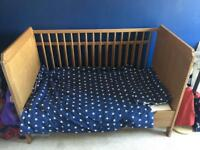 Ikea cot/cot bed with brand new mattress